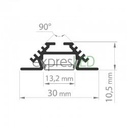 Hliníkový profil PAC, 30x10,5mm